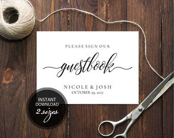 Editable PDF Guestbook Sign Calligraphic Wedding Leave your sign Guestbook Template DIY Printable Editable Guestbook Sign #DP110_07