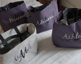7 Personalized Tote Bags, Bridesmaid tote bag , bridesmaid gifts , beach bag , bachelorette party gift , wedding tote bags, monogrammed tote