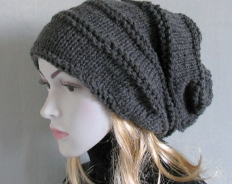 Slouchy Hat Slouchy Beanie Hand Knit Women Winter Beanie Hat Black Beanie Oversized Chunky Knit Hat Slouch Hat
