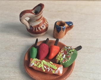 Miniature set of foods and clay dishes. 8 pieces total. Made in Mexico.