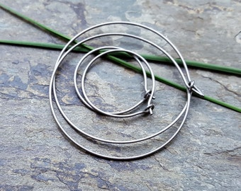 titanium hoops-- custom size earrings-- primitive series-- handmade by thebeadedlily