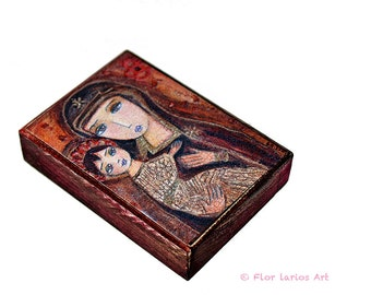 Be the Change Madonna- ACEO Giclee print mounted on Wood (2.5 x 3.5 inches) Folk Art  by FLOR LARIOS