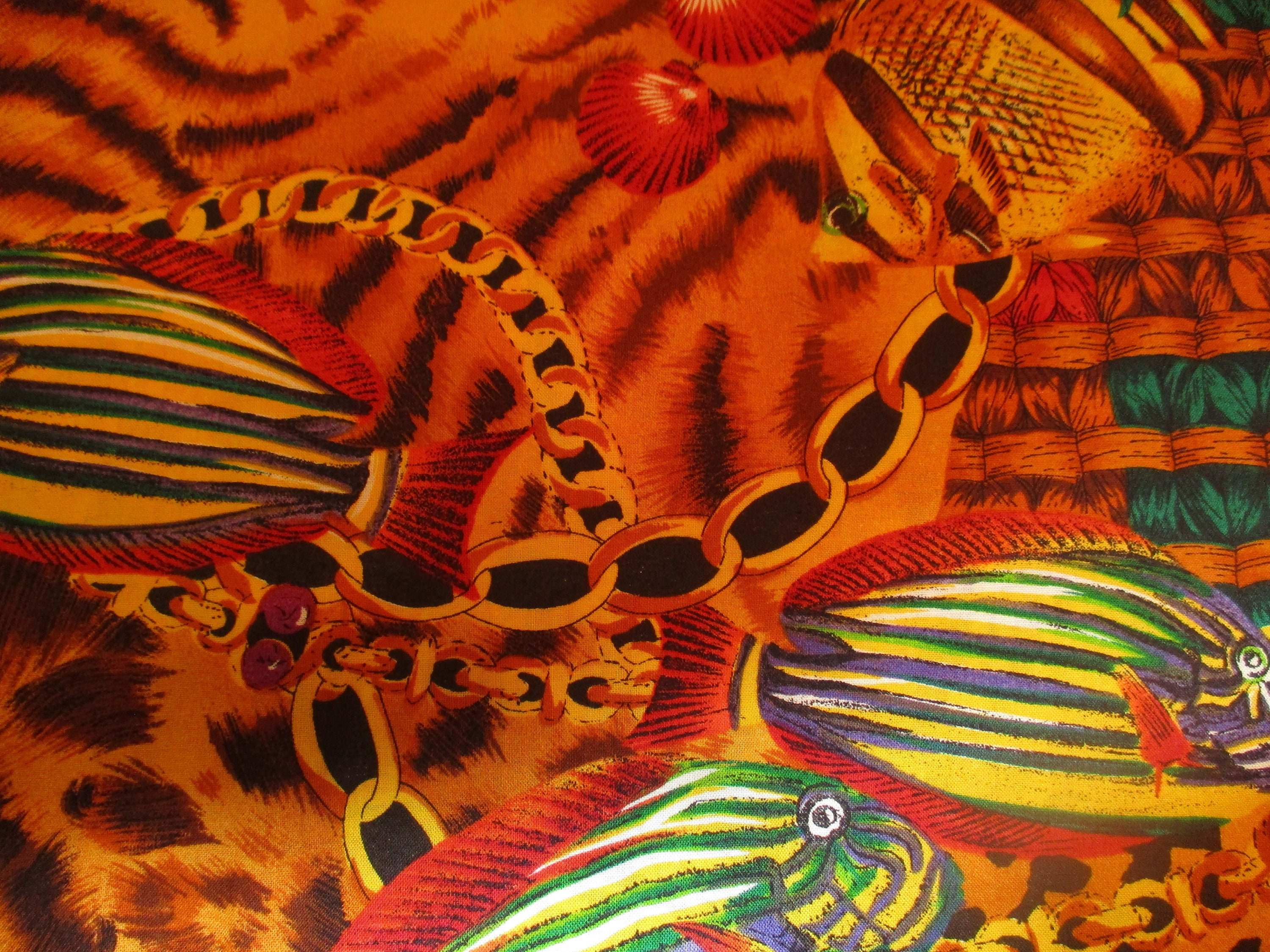 EXOTIC PRINT FABRIC Bright gold with Multi-Colored Fish and Designs ...