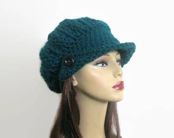 Crochet Newsboy Hat Teal Crochet Newsboy knit Slouchy Newsboy Cap Adult Teal Crochet Hat  Aqua News boy Hat with Visor and Button Teal Beret