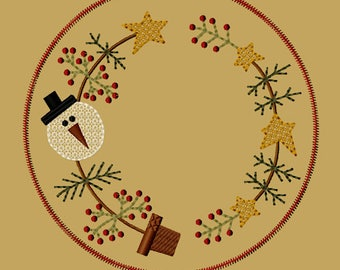 MACHINE EMBROIDERY-Snow Christmas Tree Candle Mat-8-Inch-Colorwork-Instant Download