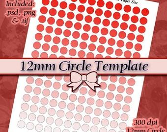 12mm gabarit circulaire, pouce de 8,5 x 11 modèle de feuille de Collage numérique bricolage Page avec des Instructions de tutoriel vidéo (téléchargement immédiat)