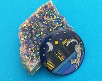 Cat Ombre Cityscape Glitter Enamel Pin Badge - Lapel Pin, Tie Pin