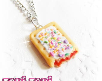 Pop Tart Necklace, Food Necklace, Food Charms, Mini Food Pendant, Foodie Gift, Realistic Food, Cute Pendant, Small Necklace For Girls