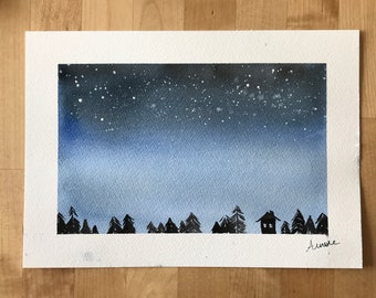 "Watercolor ""starry night""."