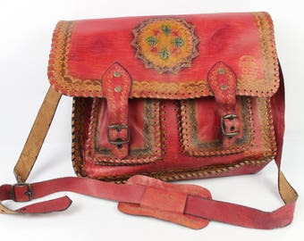 VINTAGE Studio El Duende Chile red leather satchel bag very good condition (2092)