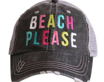 Beach Please Distressed Hat