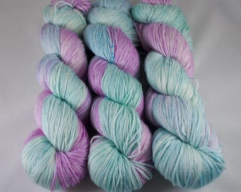 Silk Blend Hand Dyed Sock Yarn, hand dyed wool, speckled yarn, variegated sock yarn, nylon sock yarn, green, blue, pink