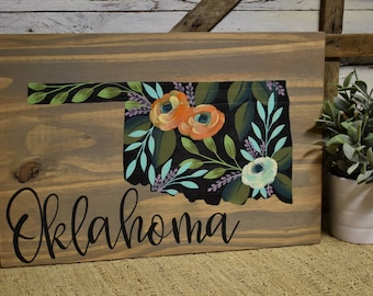 State Sign | Floral | Oklahoma | All States Available | Cottage Farmhouse Decor | Hand Painted