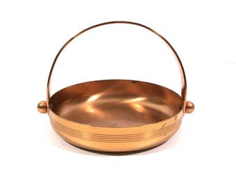 Art Deco Copper Candy Dish Basket by Chase Copper, Vintage Nut Tray with Handle