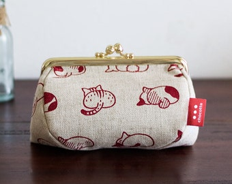 cat butts metal clip cosmetic pouch