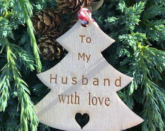 Wooden Gift Tag, Husband Gift Tag, Christmas 2017, Rustic Christmas Tag, Traditional Christmas Tag, Christmas Wrapping, Festive Gift Tag