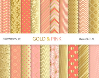 Gold digital paper, golden digital paper, gold and pin,  scrapbook paper, wedding, digital backgrounds in pink and gold, golden - Pack 639