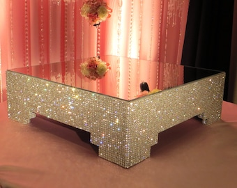 """18"""" Square, Crystal Cake Stand"""