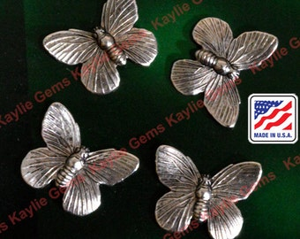 Butterfly Stamping Ring or No Ring Premium Quality Made in USA - G1291AS- 4 pcs