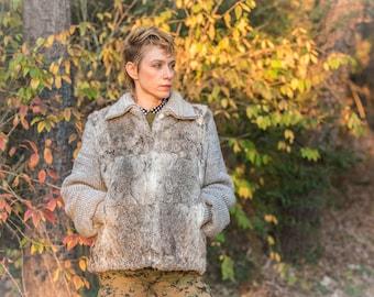 Unique SIlver Rabbit Fur Coat with Knit Sleeves- COZY!