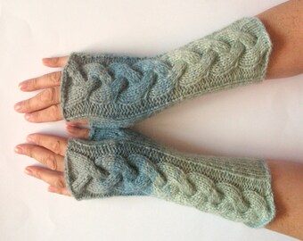 Fingerless Gloves Gray Blue wrist warmers