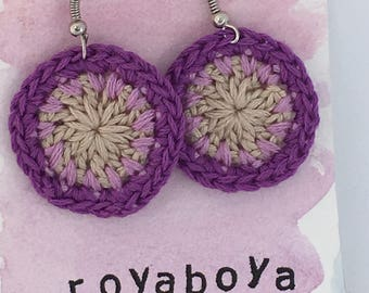 Crochet round circle purple earrings bridesmaid valentines day Mother's Day gift for her