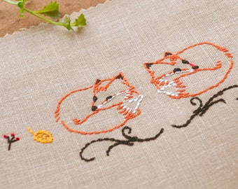 Embroidery Pattern, Fox embroidery, woodland embroidery, hand embroidery patterns - Fox-Pair