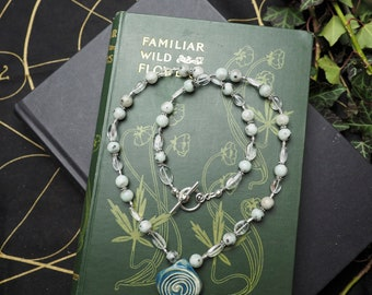 Amazonite & Quartz Labyrinth Necklace - Meditation - Pagan, Wicca, Ritual, Magic