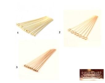 Gold Filled - 1 or 10 Headpins, Eyepins, Ballpins