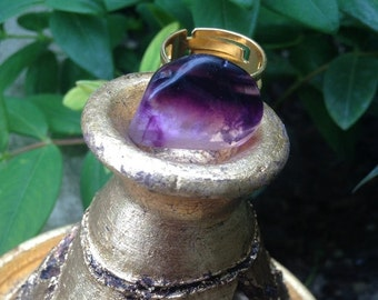 Purple Fluorine crystal ring