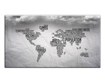 Canvas cloth panel-WORLD MAP WALLPAPER