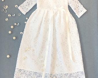 Beautiful organic cotton christening dress, lace baby girl's baptism gown, white church dress, communion girl's dress, infant baptism dress