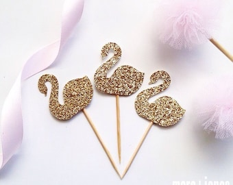 12 x Glitter Swan CupcakeToppers