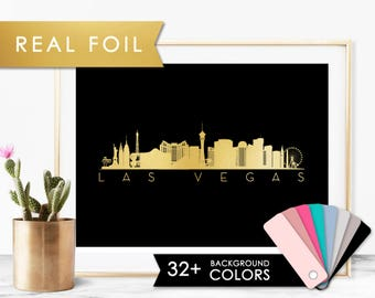 Las Vegas Skyline Foil Art Print - Fundraiser for Victims