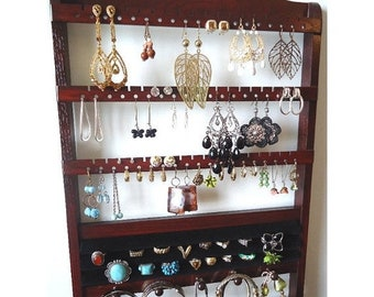 ON SALE Ring Holder Jewelry Organizer, Solid Oak Hardwood Holder, Dark Mahogany Stain, Earring Display Bracelet Storage, Lovely Wall Mounted