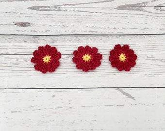 crochet red flowers | crochet embellishment | cotton crochet flowers | daisy appliqué | scrapbooking | appliqué flowers