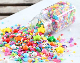 Sprinklefetti Birthday Rainbow Sprinkles Mix, Nonpareils, Sparkling Sugar, Sugar Pearls, Sprinkles, Cake Sprinkles, Cupcake Sprinkles, Quins