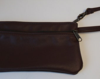 Black Leather Wristlet- Large size - Made in the USA