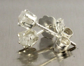 White Rough Diamond Stud Earrings in Sterling Silver, 3mm - Tiny Raw Snow White Diamonds - Conflict Free - Bridesmaids - April Birthstone