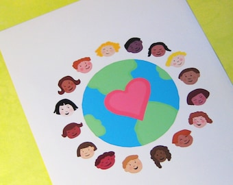 art print Children Around the World multicultural children celebrate diversity a great gift for teacher
