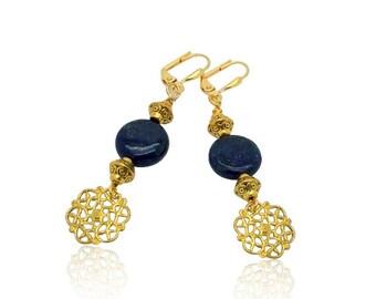 Lapis Lazuli pierres précieuses boucles d'oreilles, Vintage antique bijoux de pierres précieuses, bleu Lapis Lazuli boucles d'oreilles, or et bleu boucles d'oreilles Pierre, cadeau pour maman