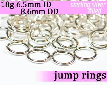 18g 6.5mm ID 8.6mm OD silver filled jump rings -- 18g6.50 open jumprings