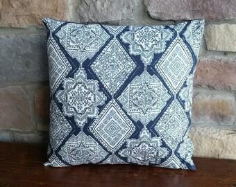 White & Navy Kilim Style Print Cotton Pillow Cover - Various Sizes