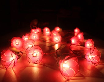 Red flower string lights for party and decoration (20 bulbs)