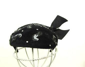 Vintage 1950s Hat | Black Velvet | Rhinestones | Sequins | Cap Hat | Versailles Made in France | Black Felt | Juliette Cap