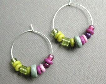 CLEARANCE Hoop Earrings, Shades of Purple and Green Beads with Silver Hoops, Fresh Colors, E 224