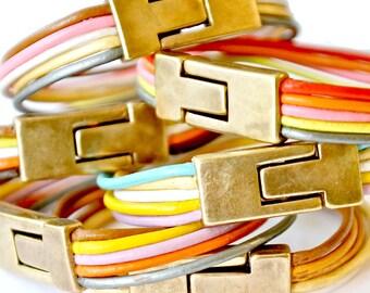 Leather Cuff Bracelet, leather bracelet, women's leather bracelet, Magnetic Clasp bracelet, colorful leather bracelet, boho leather bracelet