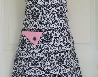 Black Damask Apron , Womens Full Apron , Retro Style , Black and White , Pink Trim , KitschNStyle