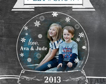 Customized Snow Globe Photo Greeting Card Vertical - Chalkboard Look  - Printable 5 x 7 Digital File