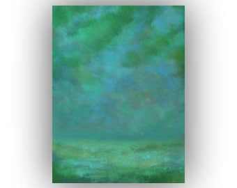 Abstract Landscape Oil Painting, Large Canvas Wall Art, Blue and Green, Night Sky and Clouds, Original 30 x 40 Palette Knife Painting
